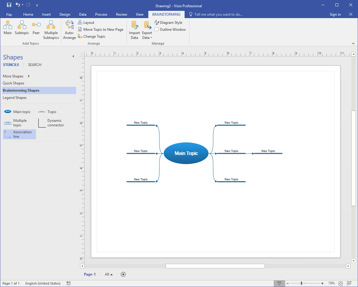 visio make mind map